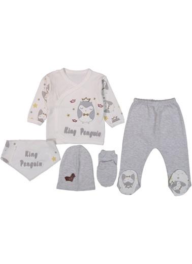 Ayfa Tekstil Babyim King Penguen Nakışlı 5 Parça Erkek Bebek Zıbın Takım AFYAHT0059 Gri